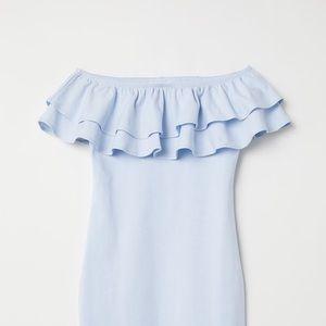 Baby Blue Off The Shoulder Dress